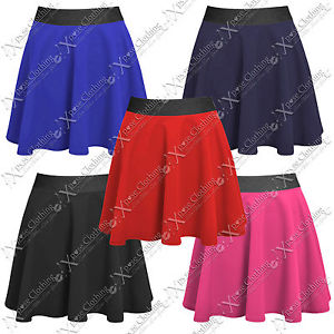 NEW LADIES STRETCH WAIST SKATER SKIRT WOMENS MINI PARTY PLAIN FLARED SKIRTS WORK | eBay