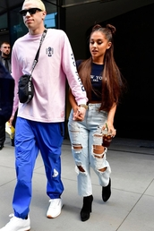 jeans,top,bag,ariana grande,shirt,denim,boots,crop tops,cropped,crop,summer,summer outfits,shoes