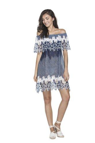 dress off the shoulder dress blue dress