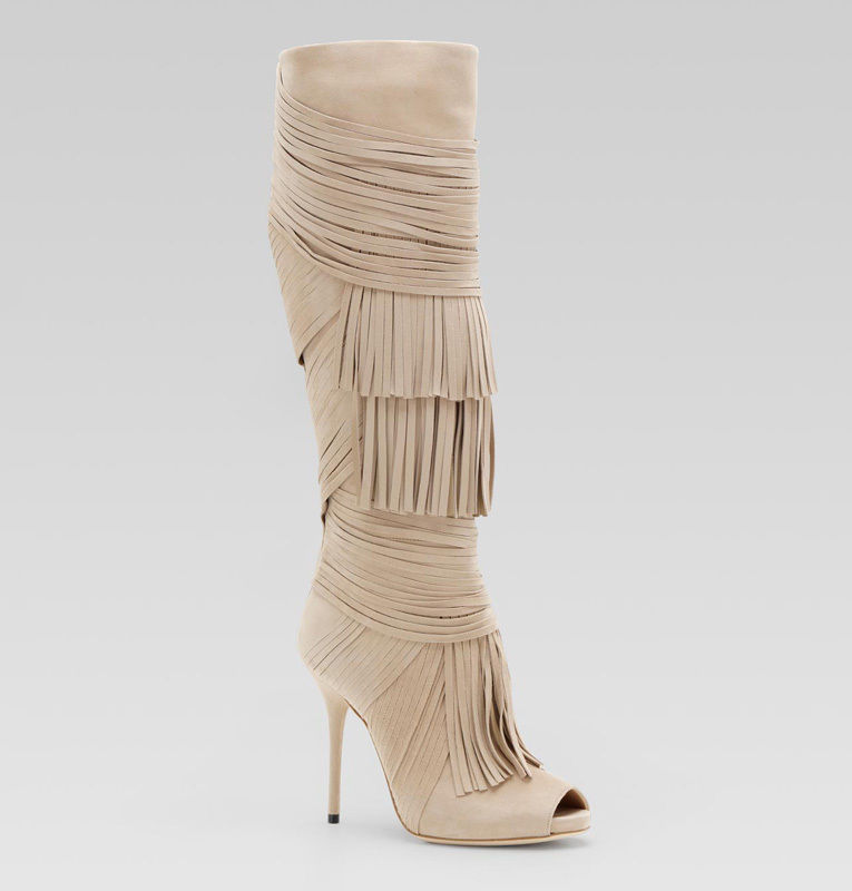 $1,990 GUCCI AKERMAN BOOTS HIGH HEEL SUEDE LEATHER FRINGE KNEE HIGH BEIGE