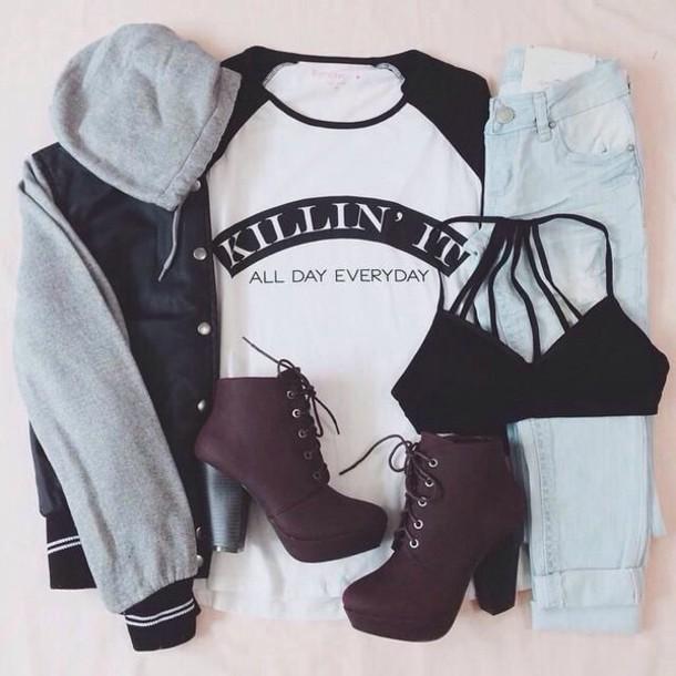 Bra Black Boots T Shirt Tumblr Outfit Tumblr Shoes