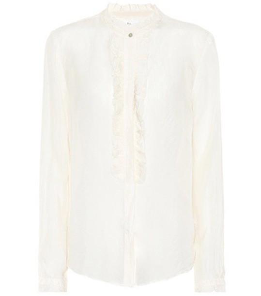 Velvet shirt silk white top