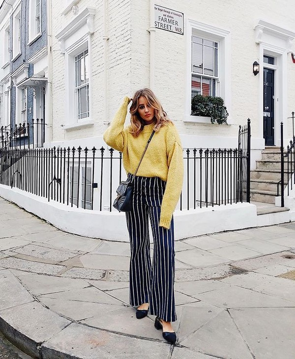 pants striped pants sweater yellow yellow sweater wide-leg pants stripes