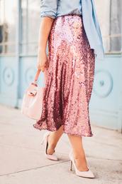 skirt,pink seqiun,sequins,midi skirt,pink sequins,pink skirt,pumps,pointed toe pumps,high heel pumps