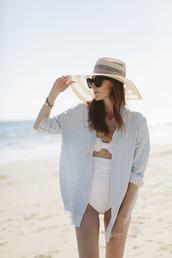 could i have that,blogger,swimwear,bandeau,striped shirt,sun hat,straw hat,high waisted bikini,white swimwear,big hat,bandeau swimsuit
