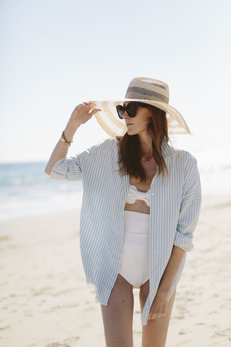 could i have that blogger swimwear bandeau striped shirt sun hat straw hat high waisted bikini white swimwear