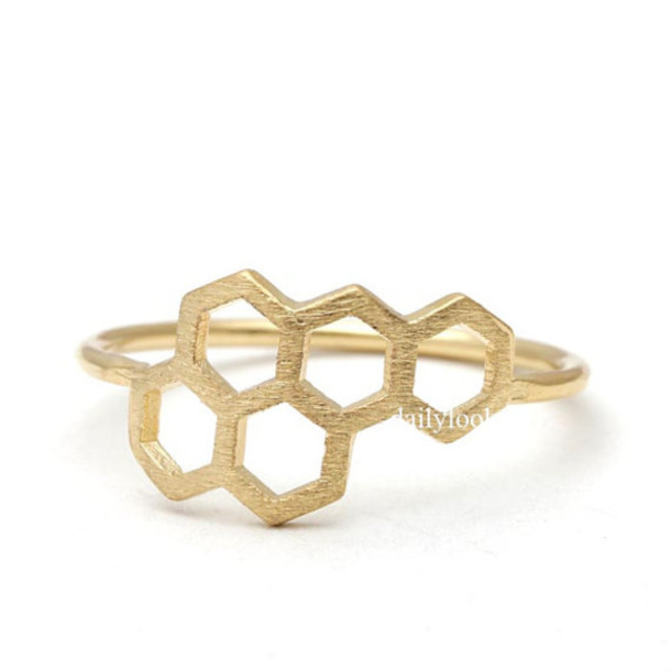 jewels jewelry ring honeydew ring honeybee ring honeycomb ring cute ring