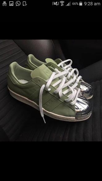 shoes green silver metallic toe adidas adidas superstars