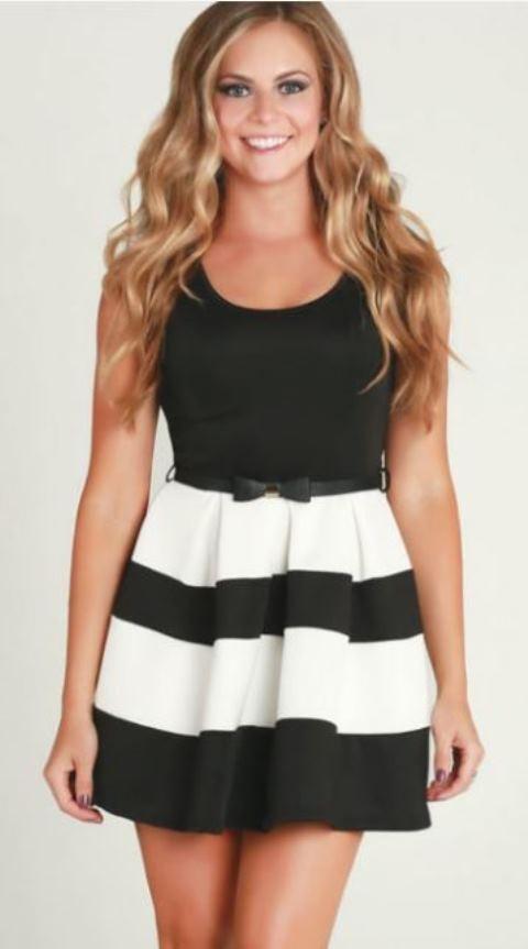 Black & White Striped Open Back Flared Dress w/ Bow Belt