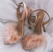 shoes,pink,nude,fuzzy heels,pink sandals,fluffy heels