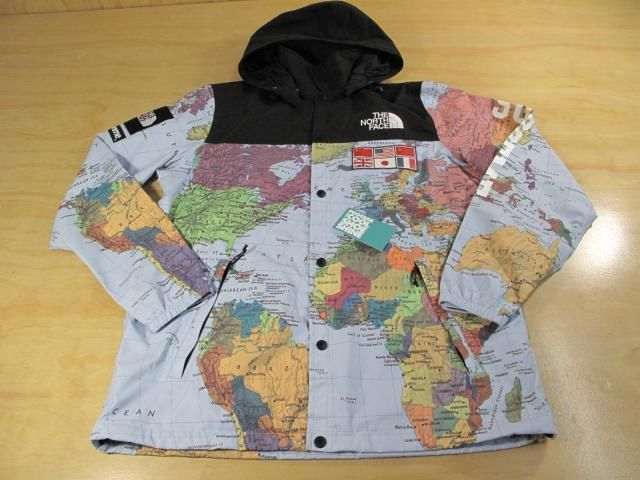 SUPREME x THE NORTH FACE TNF WORLD MAP PARKA SNOW JACKET BLUE L SS14 2014 CDG