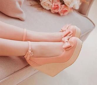 shoes kawaii pink wedges bows