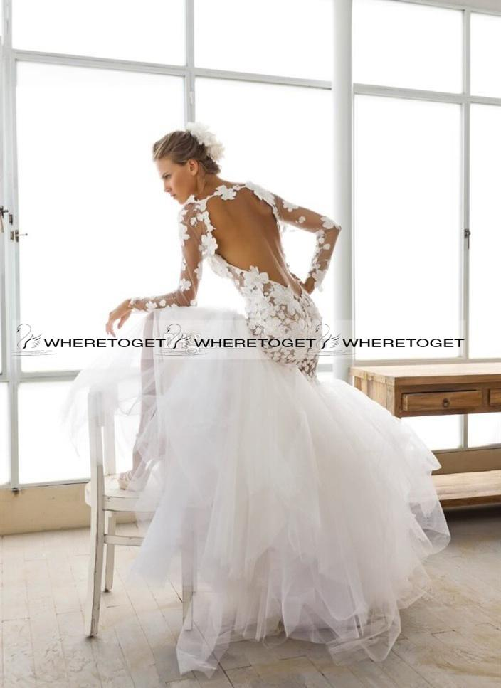 2015 sexy mermaid wedding dresses long sleeve backless for Www dhgate com wedding dresses