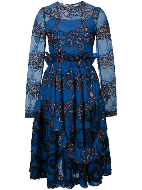 Jourden dress embroidered women blue