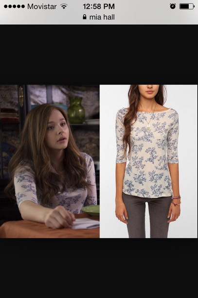blouse blue and white blouse if i stay movie outfit floral skirt if it stay movie floral top chloe grace moretz