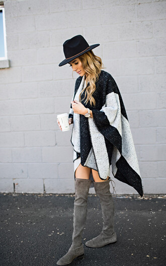 hello fashion blogger flat boots suede boots poncho fall outfits