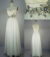 dress,prom,white,jewels,long gown