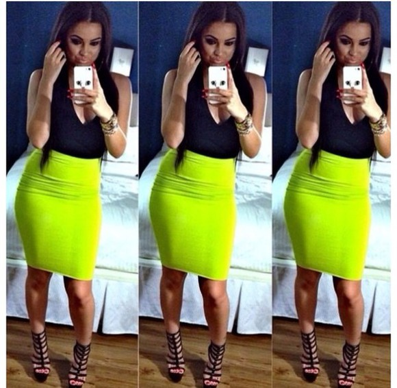 neon skirt dress neon green pencil skirt
