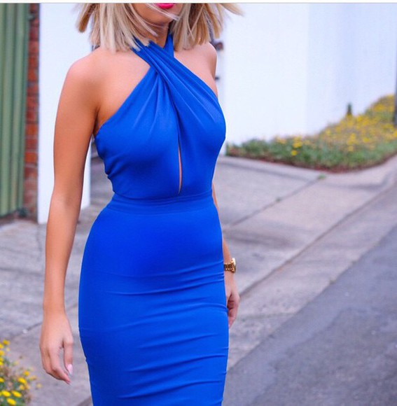 blue blue dress halter dress halter neck electric blue