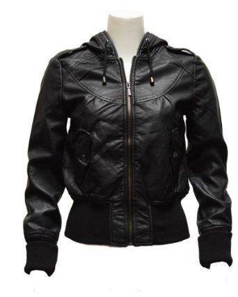 Amazon.com: Ladies Black Synthetic Hooded Leather Jacket: Clothing on Wanelo
