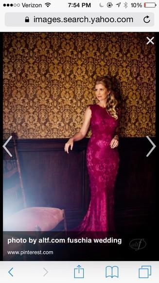 lace dress gown pink dress fuschia fushia dress bridesmaid pink dress fuschia dress