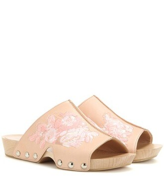 clogs embroidered leather pink shoes