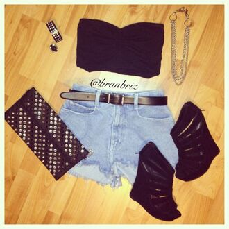 jewels shorts necklace bracelets crop tops bag belt shoes top