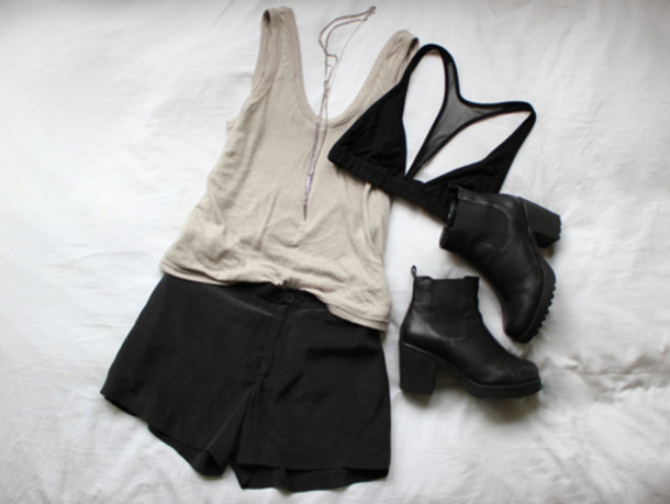 black underwear tank top shoes underwear black bra black shorts beige tank top black  high heels