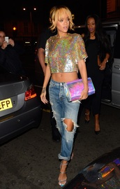 jeans,ripped jeans,t-shirt,holographic,blonde hair,crop tops,boyfriend jeans,celebrity style,sandals,bag,style,shirt,rihanna,rihanna jeans,fashion,blouse,shoes