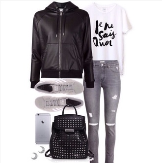 jacket black leather jacket cropped white shirt gray sneakers distressed denim jeans studded black backpack crescent moon earrings silver iphone