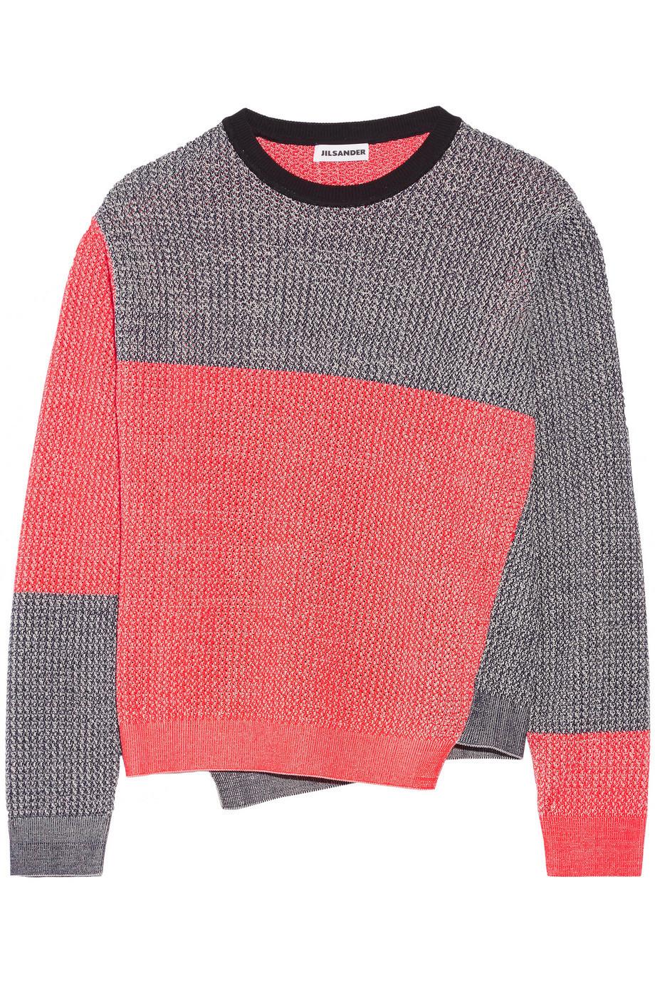 a5ff96a59 Jil Sander Color-Block Mélange Cotton-Blend Sweater in navy / red