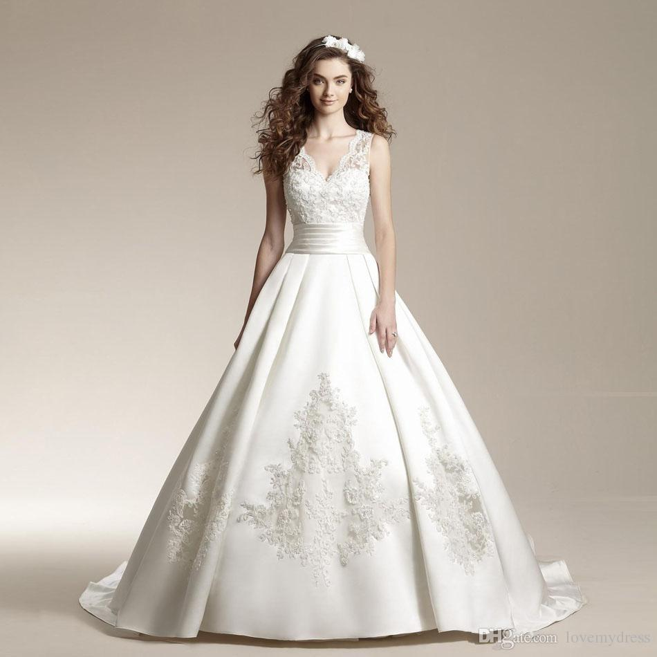 Count Train Wedding Gowns Lace White Deep V Neck V Sharped Luxury Dresses 2016 Sleeveless Covered Bottons Custom Made Gowns Wedding Princess Ball Gowns Wedding Dresses From Lovemydress, $146.75| Dhgate.Com