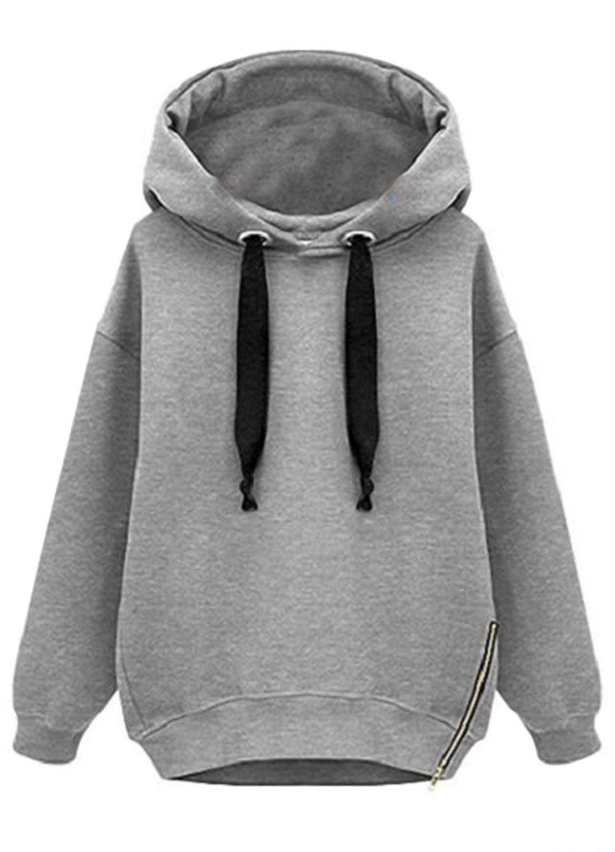 Sheinside women's grey hooded long sleeve drawstring loose sweatshirt (one size, grey) at amazon women's clothing store: