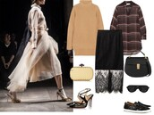 a portable package,blogger,bag,sunglasses,lace skirt,shirt,turtleneck,camel,clutch