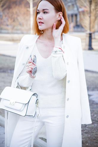 gvozdishe blogger coat sweater jeans sunglasses shoes bag