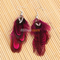 Beautiful attractive purple red goose feather dangle earrings 01 | ebay