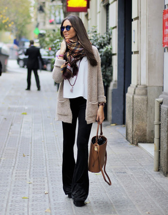 pants white shirt beige cardigan sunglasses brown bag black flared trousers blogger