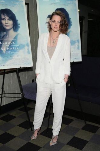 shoes top blazer kristen stewart sandals pants suit