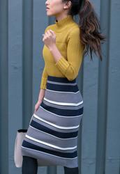 skirt,tumblr,midi knit skirt,stripes,striped skirt,knitted skirt,knitwear,tights,opaque tights,sweater,yellow,yellow sweater,turtleneck,turtleneck sweater,mustard,bag,grey bag,pencil skirt