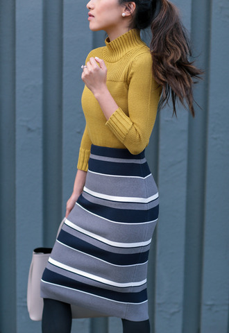 skirt tumblr midi knit skirt stripes striped skirt knitted skirt knitwear tights opaque tights sweater yellow yellow sweater turtleneck turtleneck sweater mustard bag grey bag pencil skirt