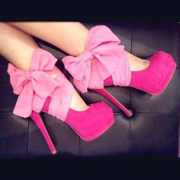 shoes bow bow heels platform shoes pink shoe high