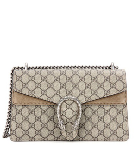 Gucci Dionysus GG Supreme Small coated canvas and suede shoulder bag in beige / beige