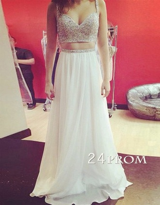 dress two-piece prom fashion long long dress white white dress two piece dress set prom dress glitter glitter dress diamonds crop tops long prom dress evening dress bridesmaid wedding clothes girly girl girly wishlist tumblr tumblr outfit