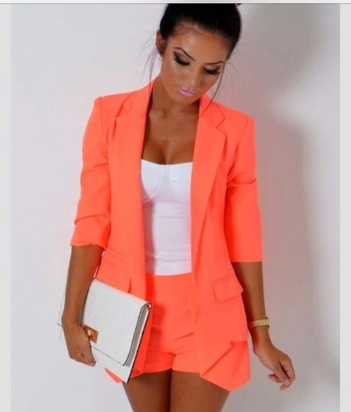 jacket blazer orange