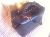 bag,bowling bag,zara,black leather