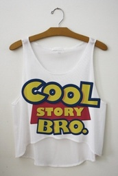 shirt,movie,toy story,summer,cool story bro,blogger,tank top,top,blouse,white,blue,yellow,cool story bro tank,crop tops