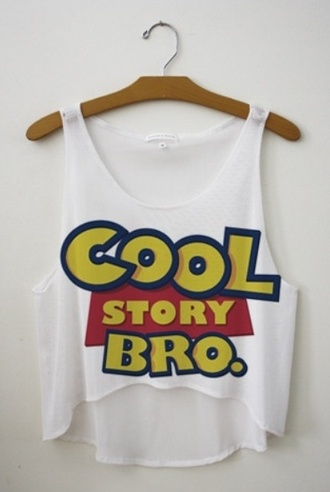 shirt movie toy story summer cool story bro blogger tank top top blouse white blue yellow cool story bro tank crop tops