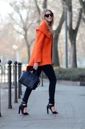 coat,orange,jacket,chic