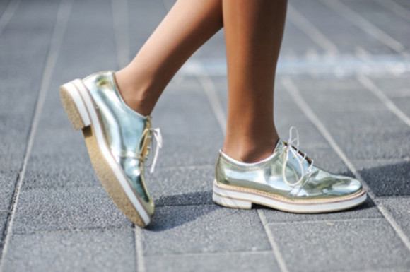 shoes brogues shiny pretty silver oxfords gold silver shoes oxford flats womens shoes