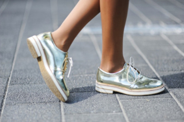 Shoes Shiny Pretty Brogue Shoes Oxfords Silver Gold